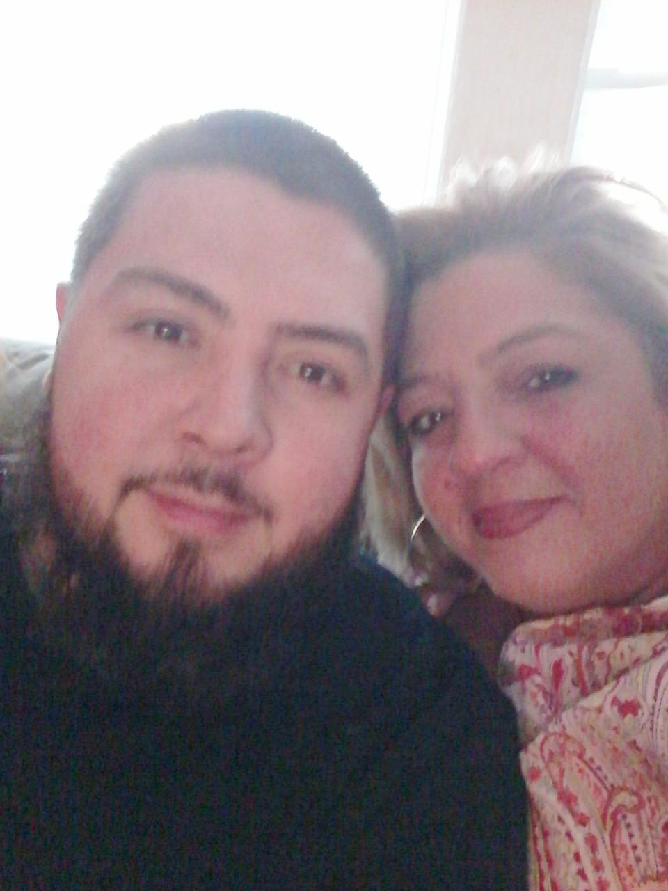 Noel Vasquez and his mother, Madeline Bermudez, pose for a selfie.