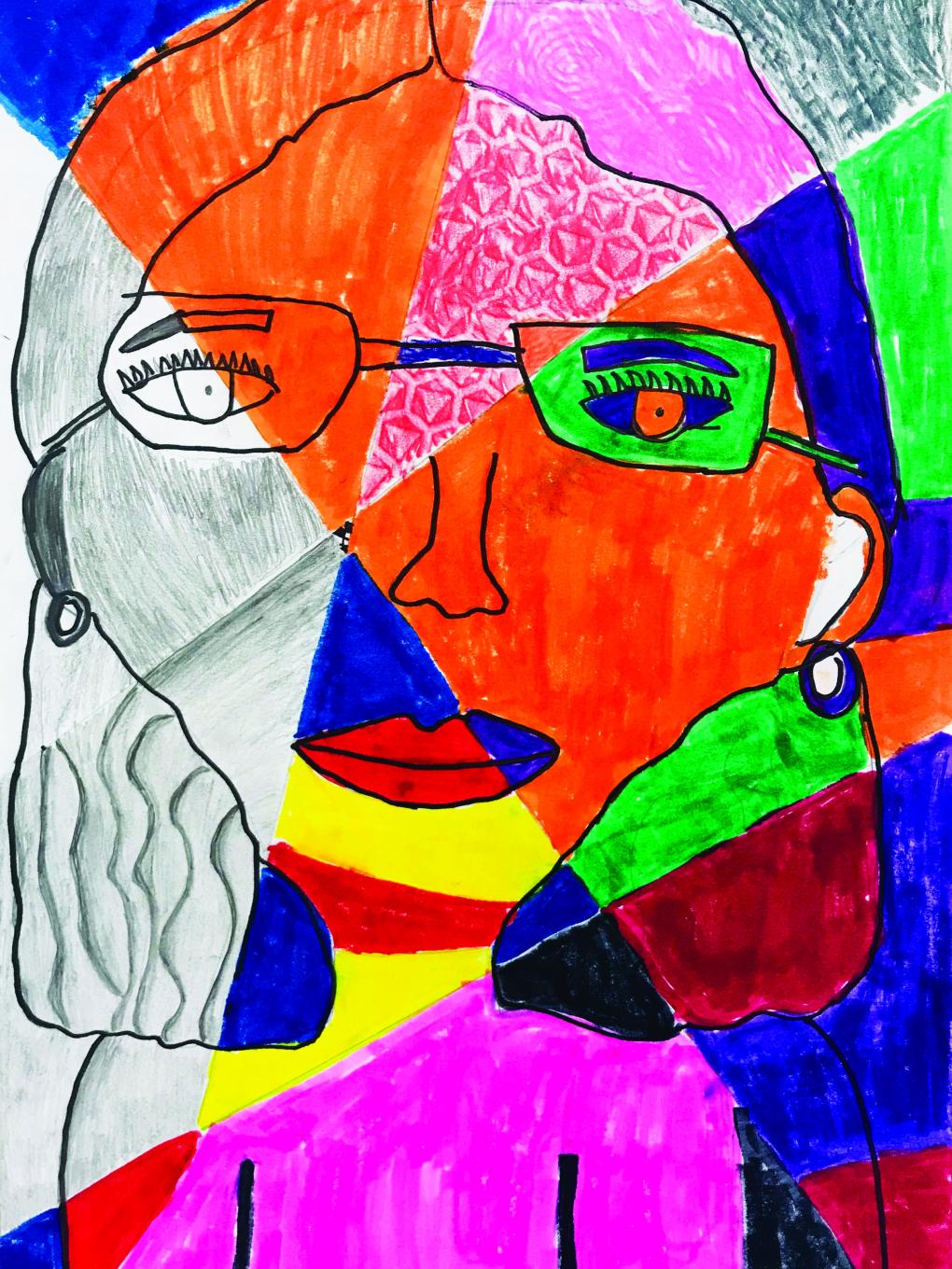 Cubism-style drawing of girl with glasses using bright colors