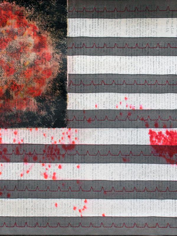 An image resembling an American flag with red coronavirus image in upper left and gray stripes
