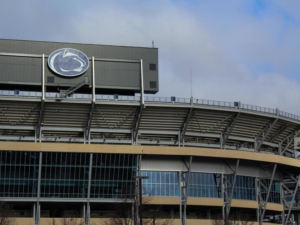 Penn State Athletics logo sign on exterior of Beaver Stadium