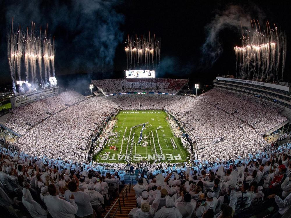 Beaver Stadium at night during the 2018 Penn State White Out Football Game