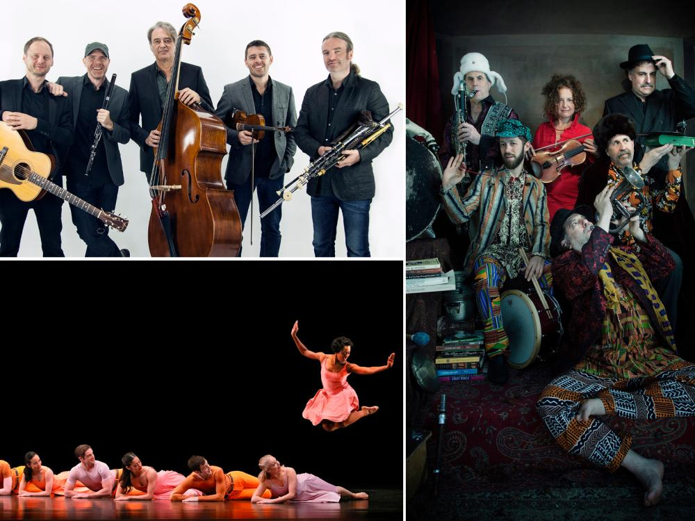 Collage of three photos of Lúnasa, The Paul Taylor Dance Company, and The Klezmatics
