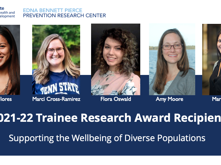 2021-22 Trainee Research Award recipients, supporting the wellbeing of diverse populations, Eileen Flores, Marci Cross-Ramirez, Flora Oswald, Amy Moore, Mary Kruk