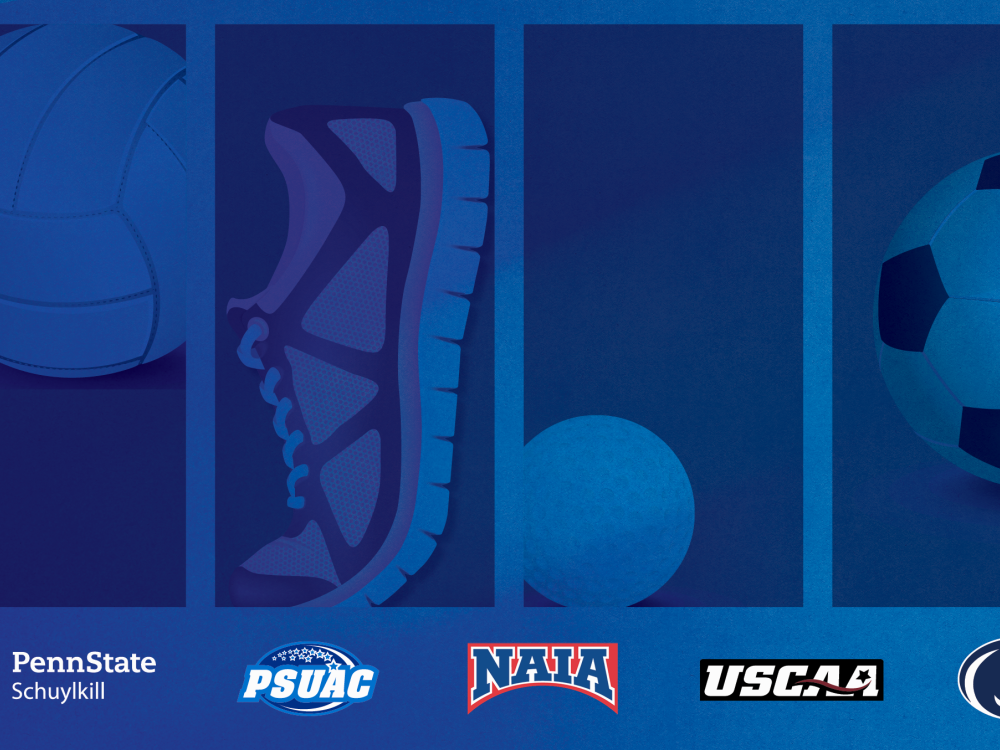 Blue graphic with four panels. Panel 1 is a volleyball, panel 2 a tennis shoe, panel 3 a golf ball, and panel 4 a soccer ball. Penn State Schuylkill, PSUAC, NAIA, NCAA, and Penn State Athletics logos