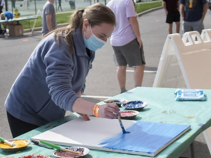 Maria Schultheis participates in the 'Pandemic Paint Party' event at 'Finally Unplugged' on April 23 at University Park.
