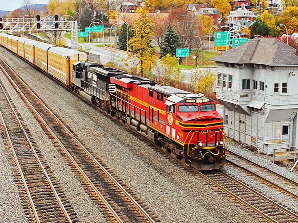 Train headed through downtown Altoona