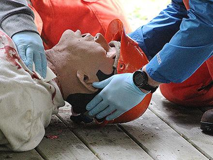 i-Stan, a high-fidelity human simulation patient, receives emergency care.