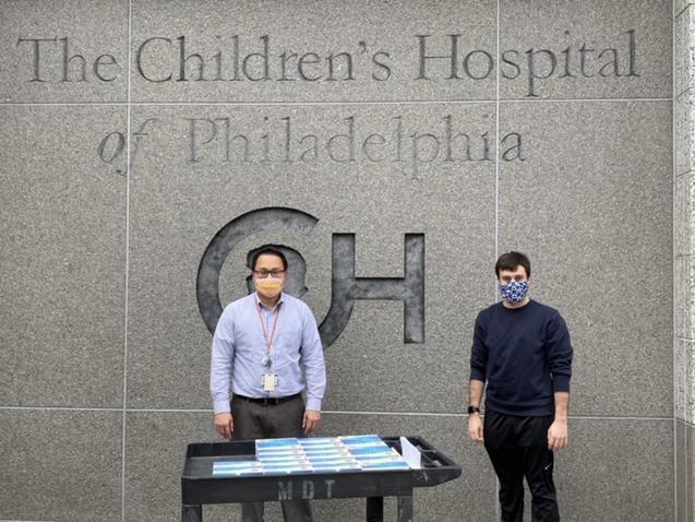 Brendan Bernicker delivers masks to the Children's Hospital of Philadelphia