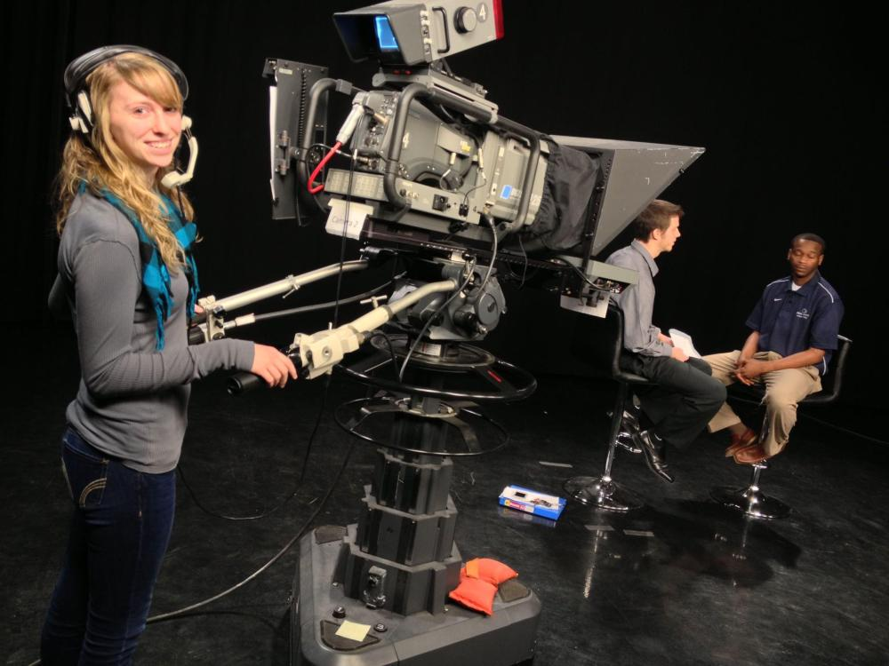 Penn State Lehigh Valley students conduct an interview in the WLVT studio.