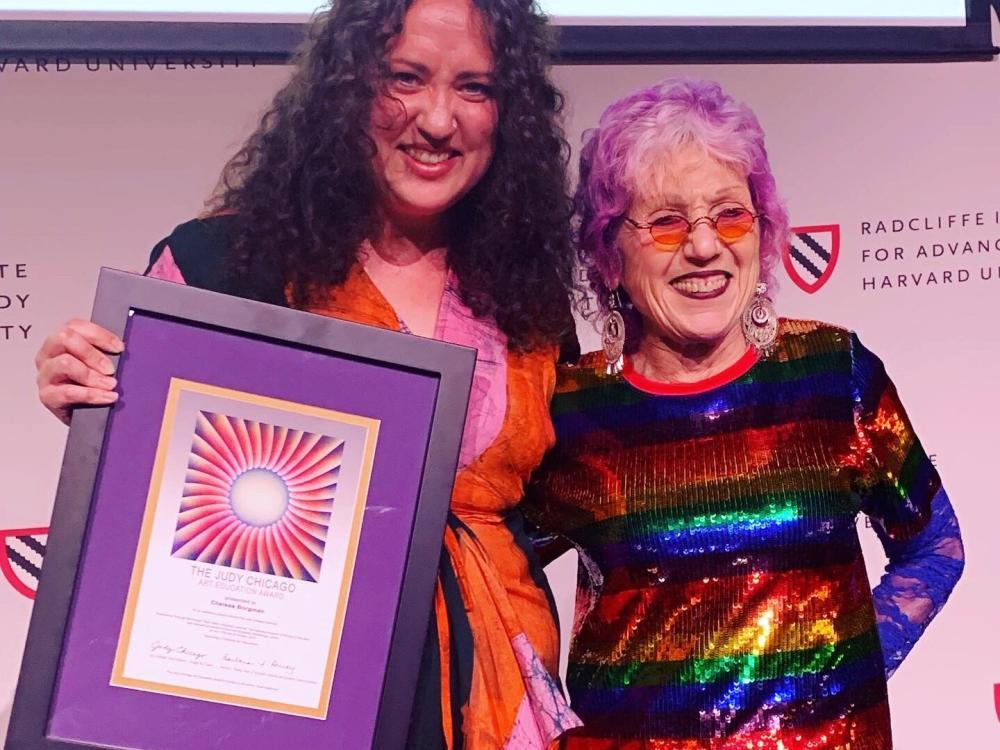 Chelsea Borgman receiving Judy Chicago Award