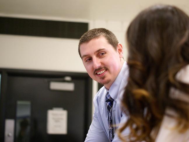 Anthony Gyke smiles at Steer Logic partner Olivia Sribniak