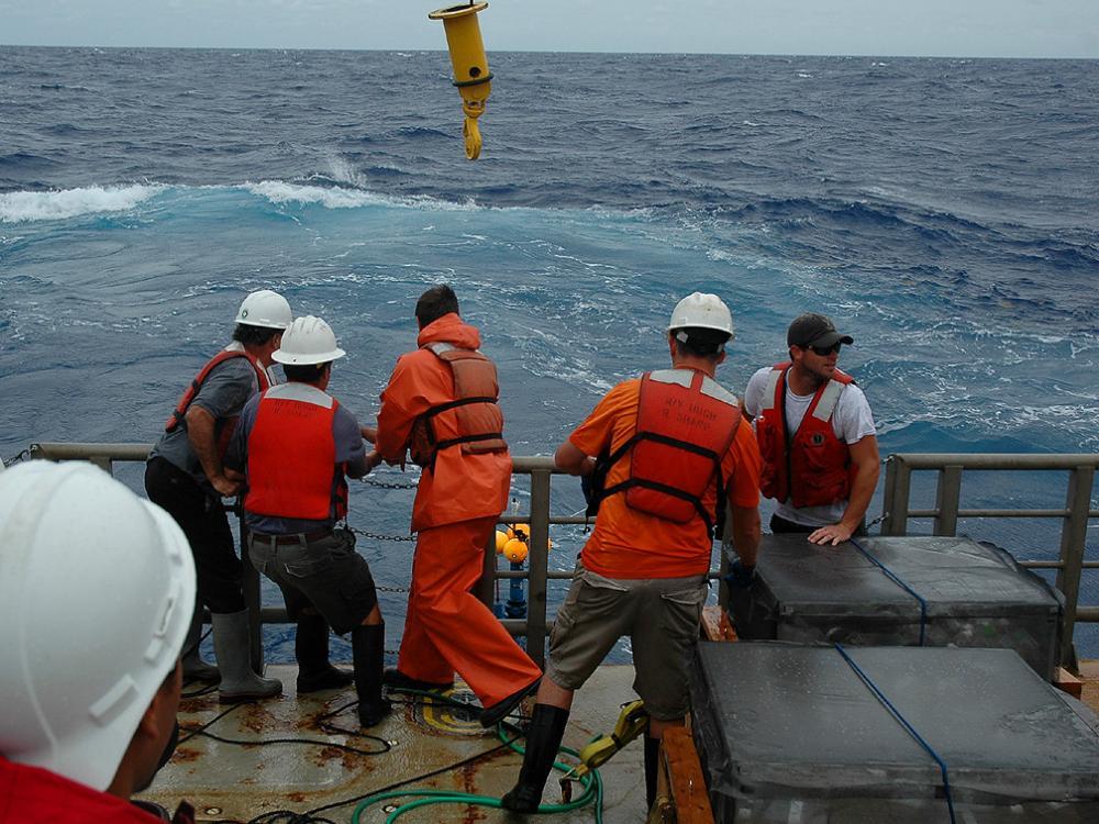 retrieving a drifter from the Atlantic Ocean