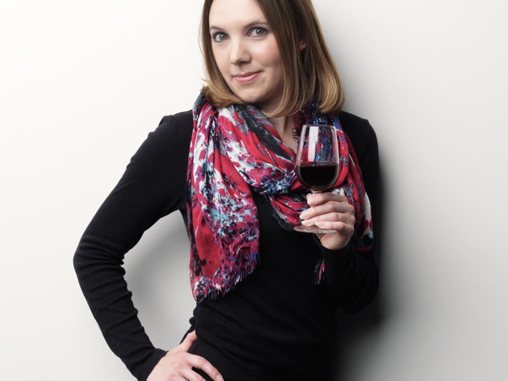 Gardner with wine glass