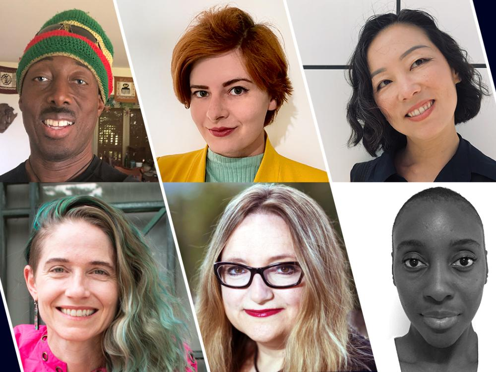 Headshots of Antwi Akom, Rayne Laborde, Lily Song, Ife Salema Vanable, Andrea M. Matwyshyn and Catherine D'Ignazio