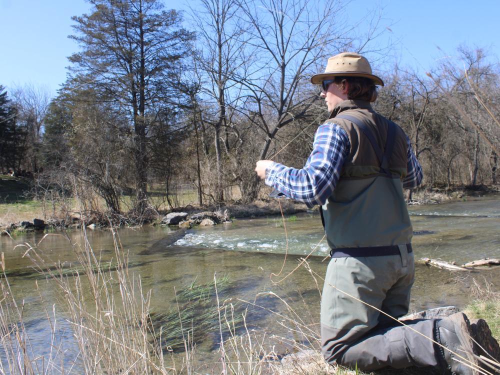 undergrad researcher fishing