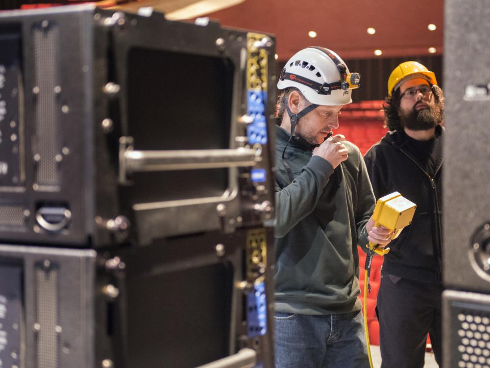 crew installing sound system