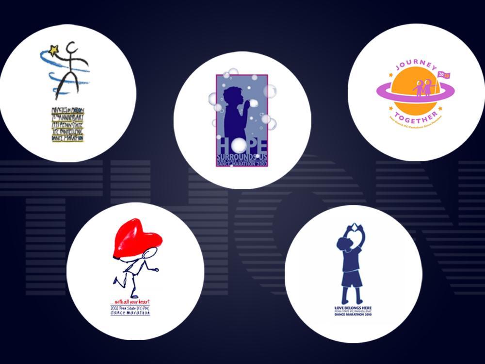 Five previous THON logos against the THON word mark.