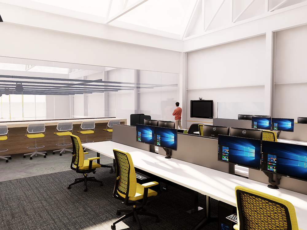 Architectural rendering of computer lab
