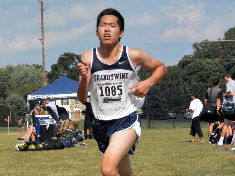 John Li nears the finish line at the Brandywine Invitational