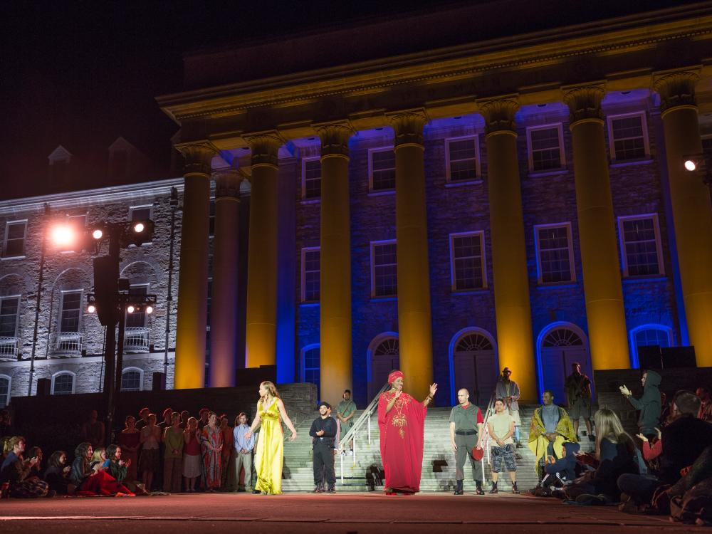 """""""Julius Caesar"""" actors step out in front of Old Main to audience applause"""