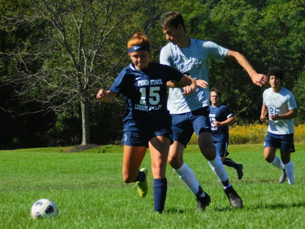 Elizabeth Wagner kicks ball during recent game.