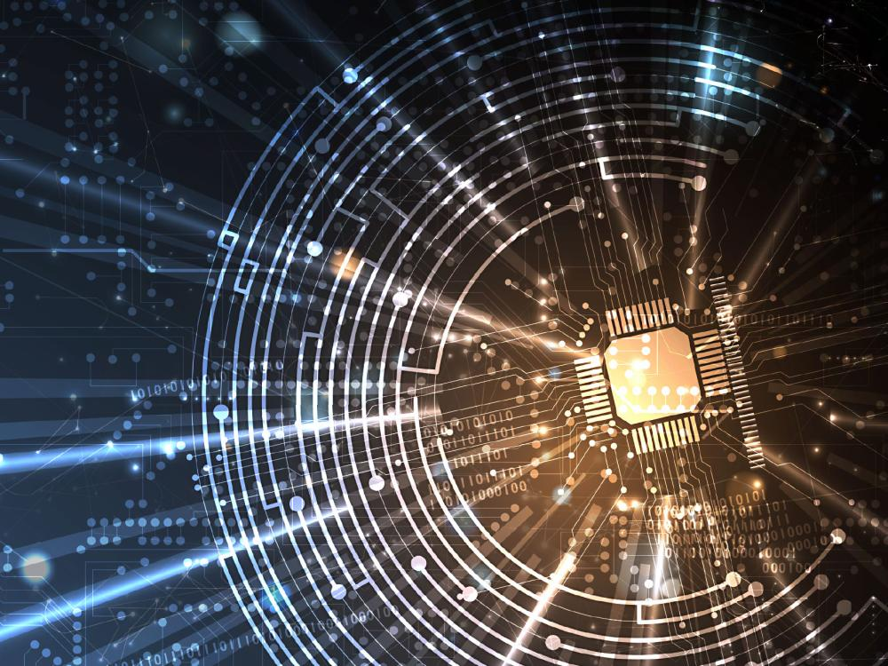 Abstract picture of microchip in space