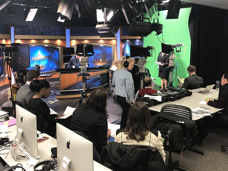 Behind the scenes of the simulated news broadcast