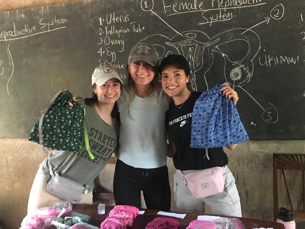 Noelia Ortiz-Landazabal with two other students in Africa