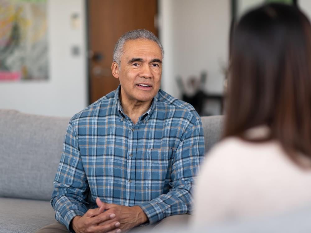 Older man receiving counseling