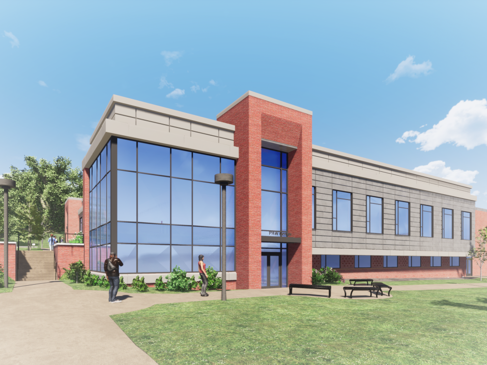 An architectural rendering of the Physical Fitness, Athletics and Wellness Center at Penn State DuBois