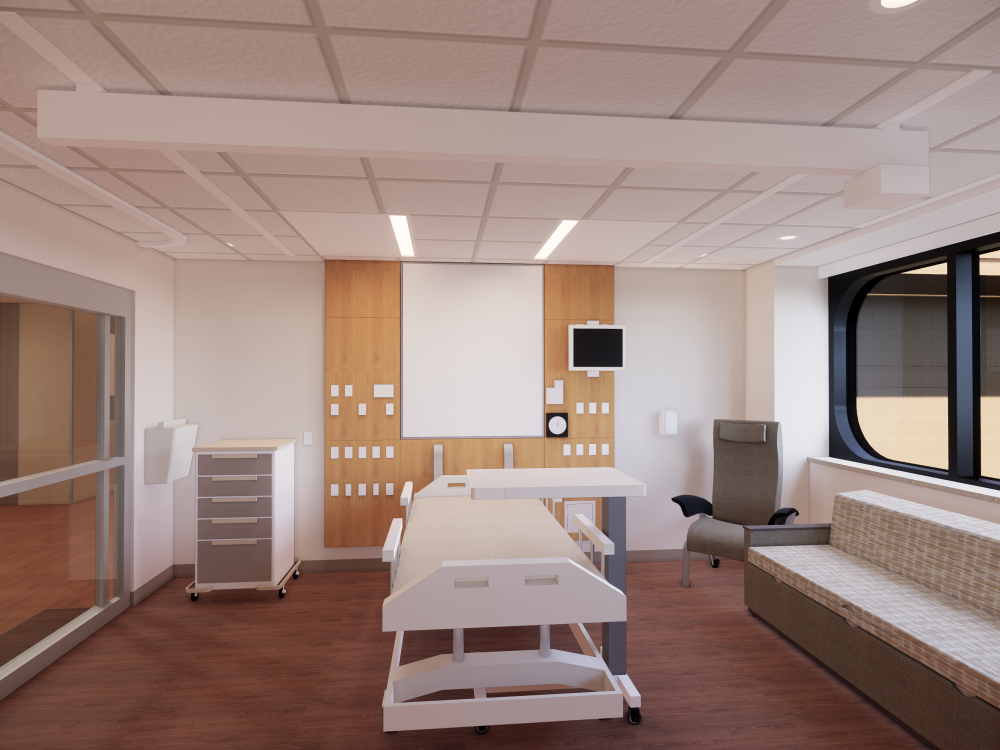 Architect's rendering of renovated private acute care patient room