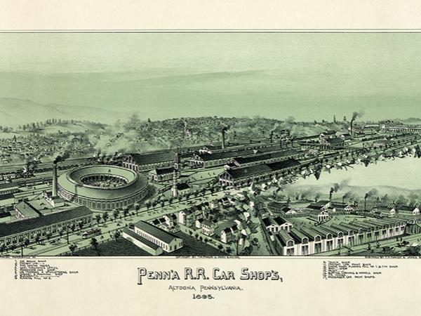 Thaddeus Mortimer Fowler and James B. Moyer's lithograph showing the town of Altoona in 1895, a town created to serve the Pennsylvania Railroad