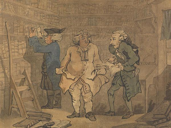 18th-century painting of three men standing in front of bookshelves