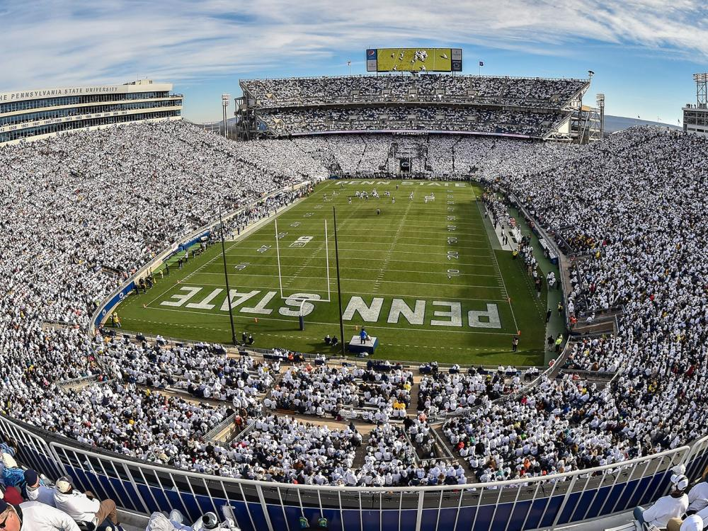 Beaver Stadium filled with football fans in a White Out game