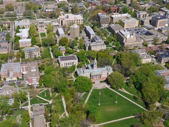 An aerial photo of the Old Main lawn at the Penn State University Park Campus.