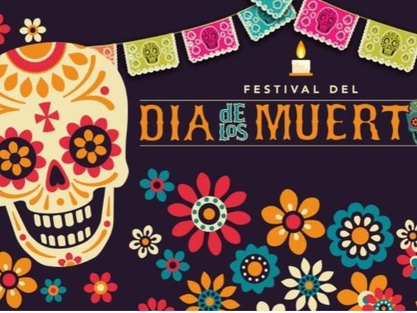Graphic with colorfully decorated skull, flowers and Dia de los Muertos highlighted.
