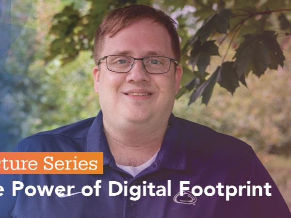 "Matthew DeMaria presenting ""The Power of Digital Footprint"" at Lecture Series"