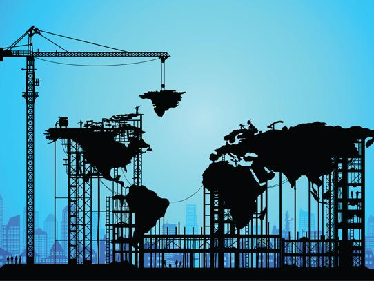 Illustration of a crane lifting the world map together on a blue background.