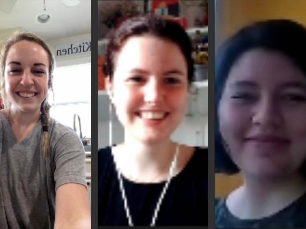 A screenshot of three female students on a Zoom call.