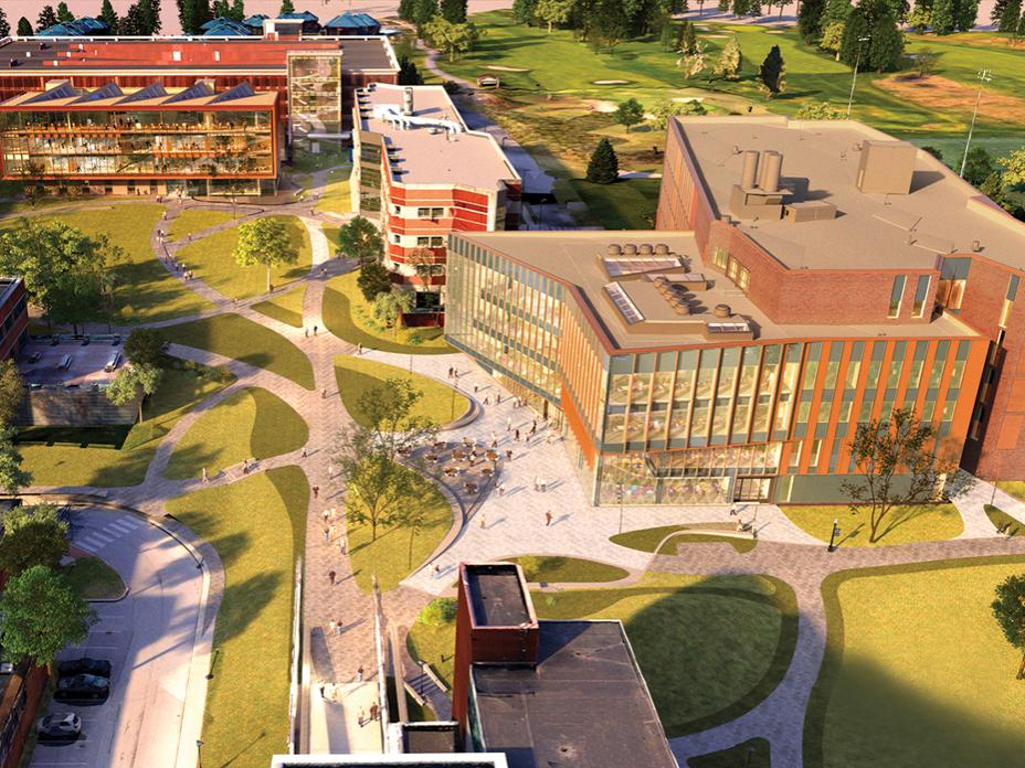 Architectural rendering of new west campus buildings for the Penn State College of Engineering