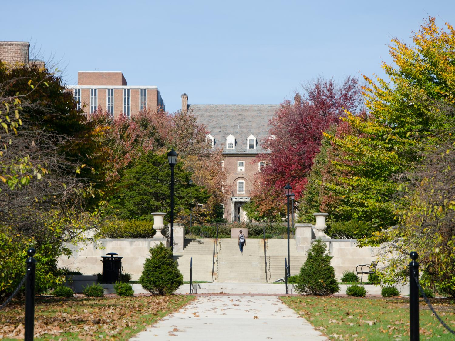 Walkway to West Halls Quad at Penn State University Park in Autumn