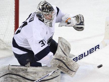 Hockey player defends goal