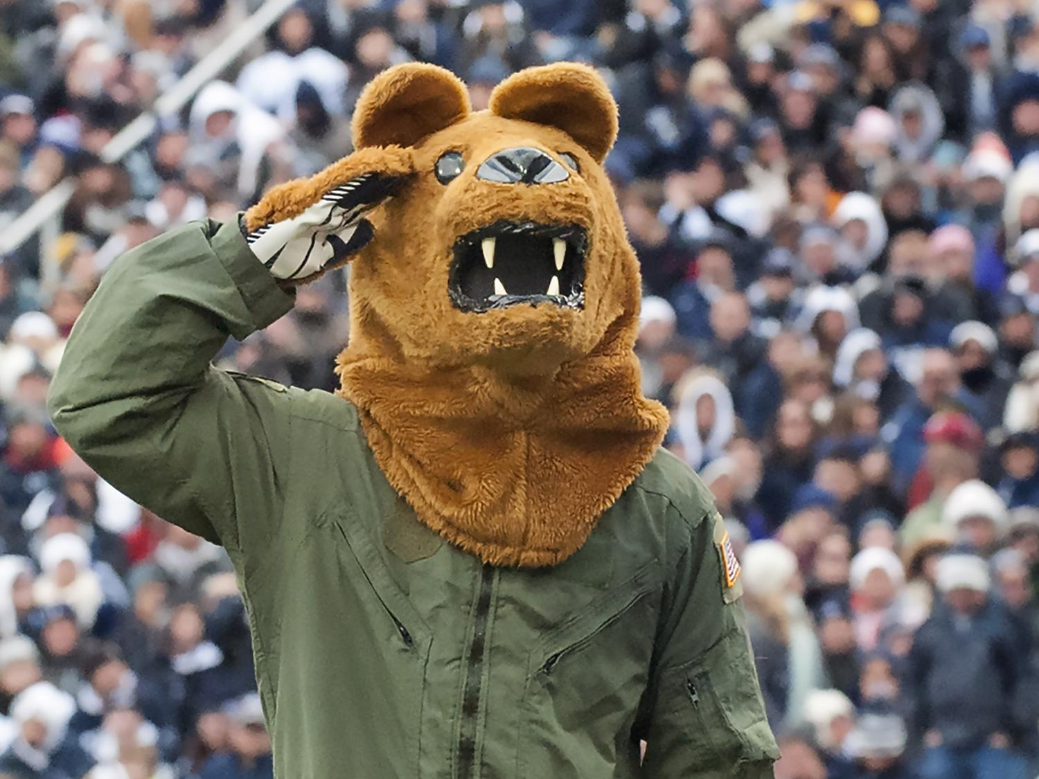 Nittany Lion salutes at Military Appreciation Game