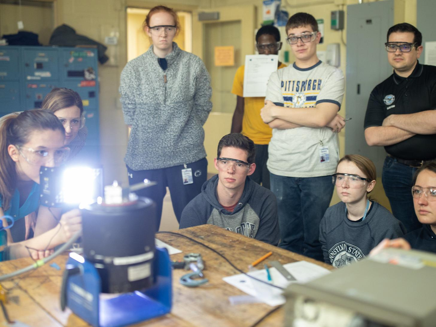 A group of engineering students attend a recent BUILD night in the Bernard M. Gordon Learning Factory.
