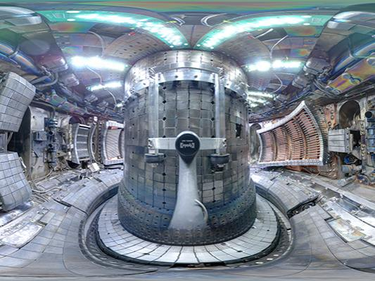 The metallic donut-shaped interior of a nuclear fusion device.