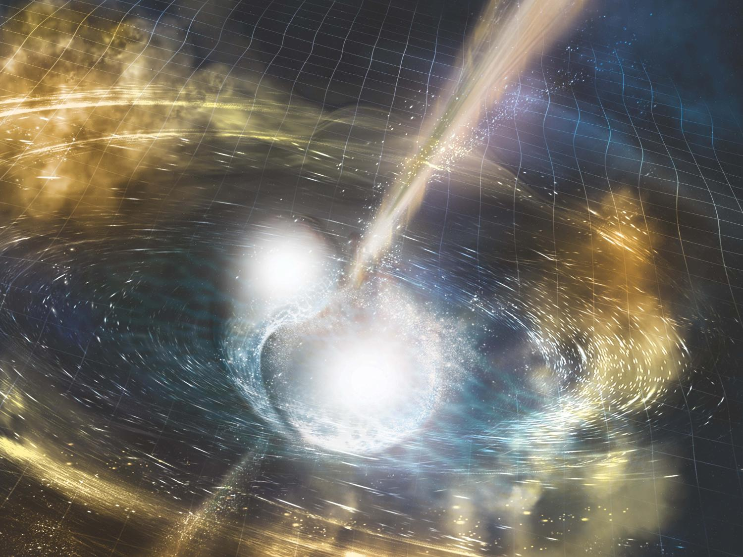 artistic depiction of a binary star merger