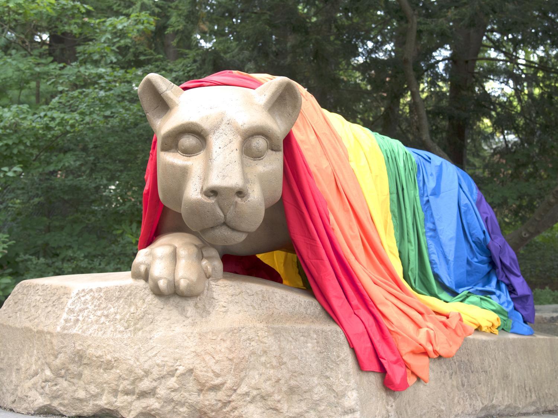 Rainbow flag draped over the Lion Shrine