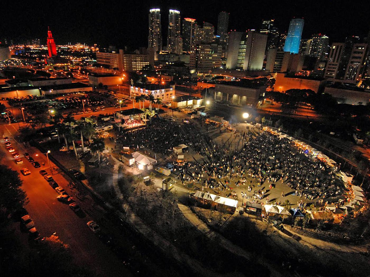 Miami Grand Central Park at night