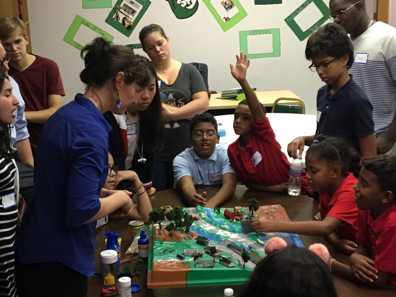 Olivet children using the EnviroScape learning tool