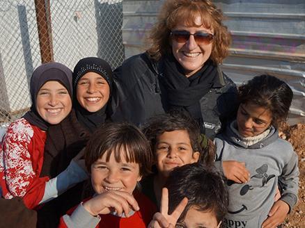 Carleen Maitland visiting a Syrian refugee camp
